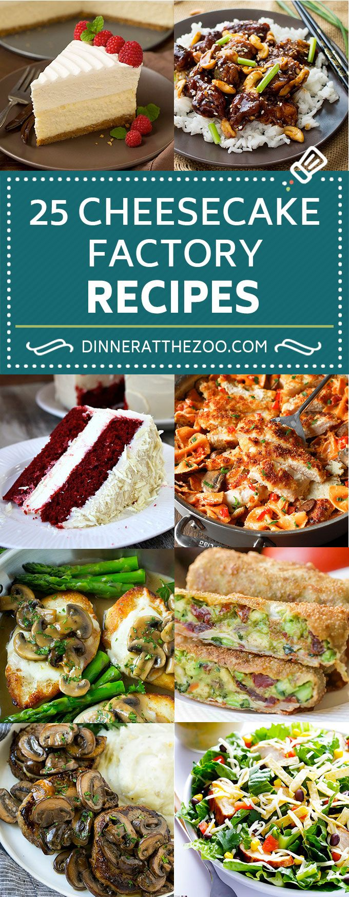 25 Cheesecake Factory Recipes | Cheesecake Factory Copycat Recipes | Restaurant Copycat Recipes #cheesecake #dinneratthezoo #dinner #pasta #chicken #cheesecakefactoryrecipes