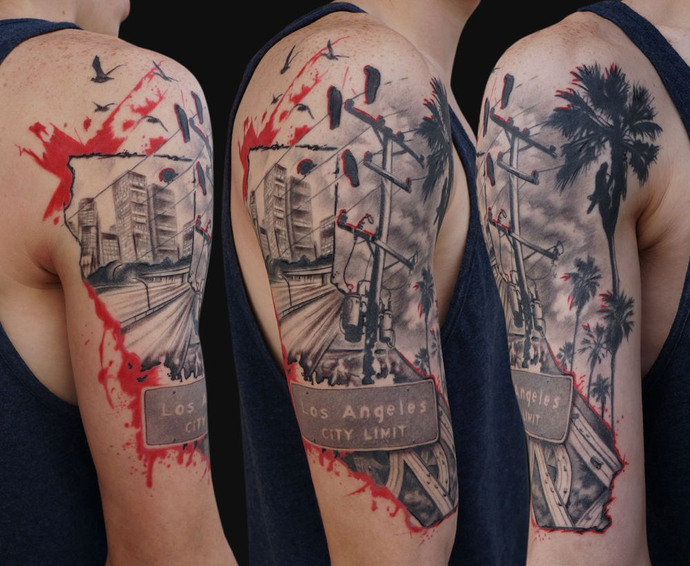 Jamie lee parker los angeles trash polka style tattoo for Arm mural tattoos