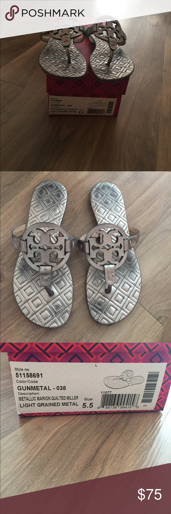 a6b4f12e99d4ea Tory Burch Metallic Miller sandals size 5.5 Tory Burch Metallic Marion  Quilted Miller sandals size 5.5