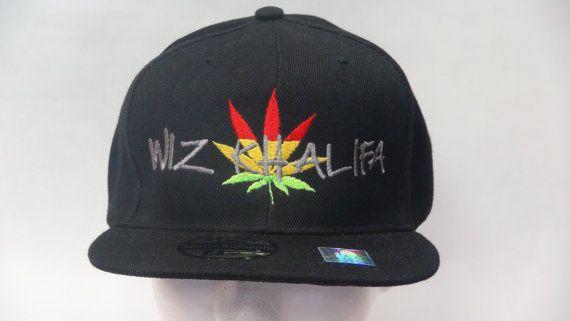 2dd02822db7 Wiz Khalifa Rapper Snapback or fitted flat bill cap hat Weed Marijuana  Rasta Hip Hop Vintage Retro Style