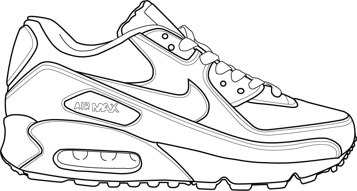 Download Or Print This Amazing Coloring Page Shoe Coloring Sheet Sneakers Sketch Nike Drawing Shoes Clipart