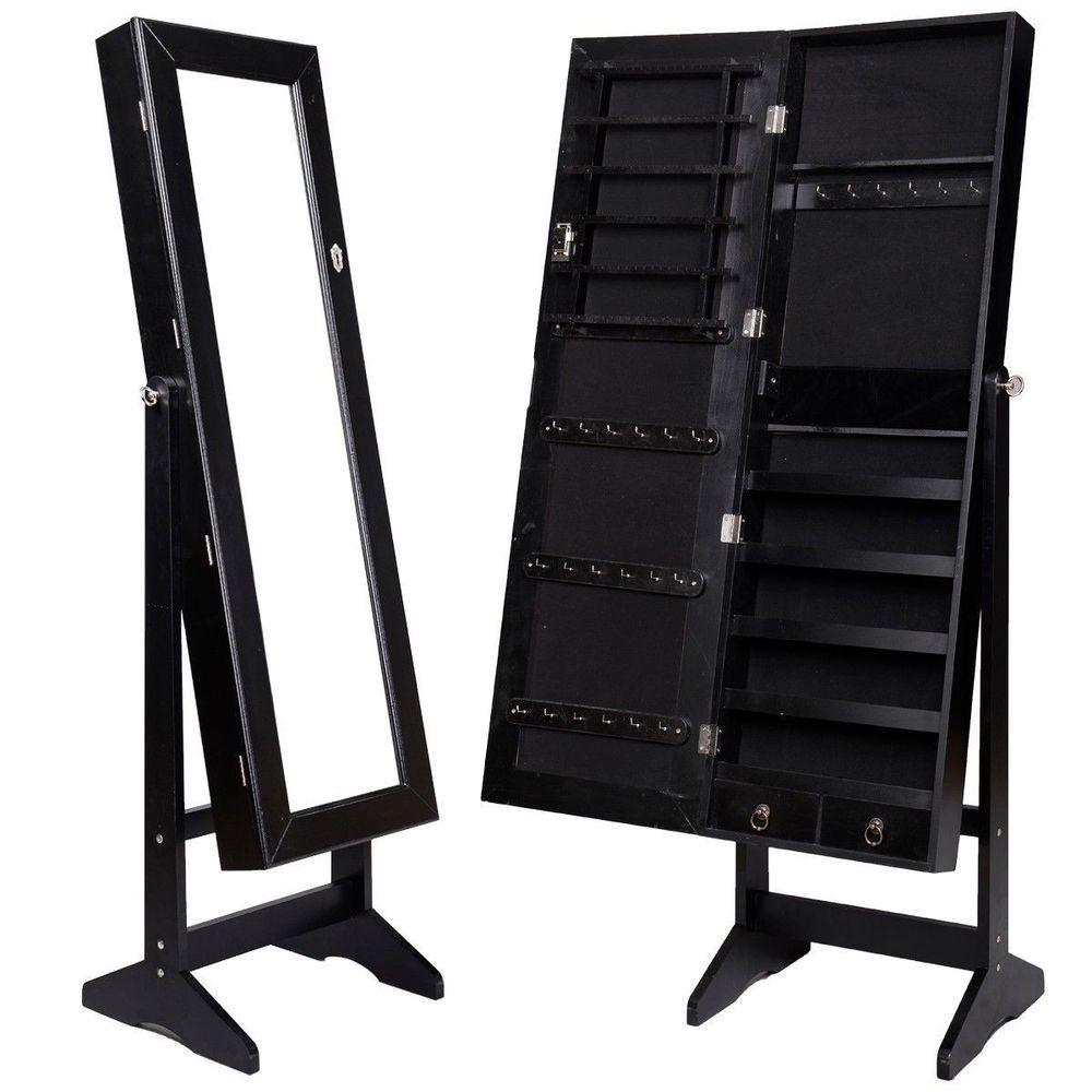 Mirrored Jewelry Cabinet Mirror Organizer Armoire Storage Box Ring W