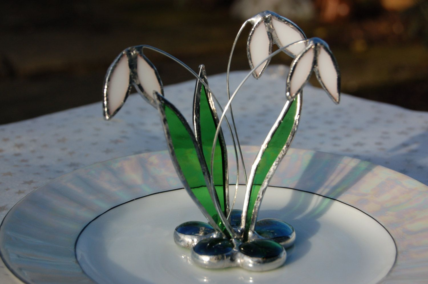3D Stained Glass Snowdrop, English Spring Flowers, Ornament. £15.00, via Etsy.