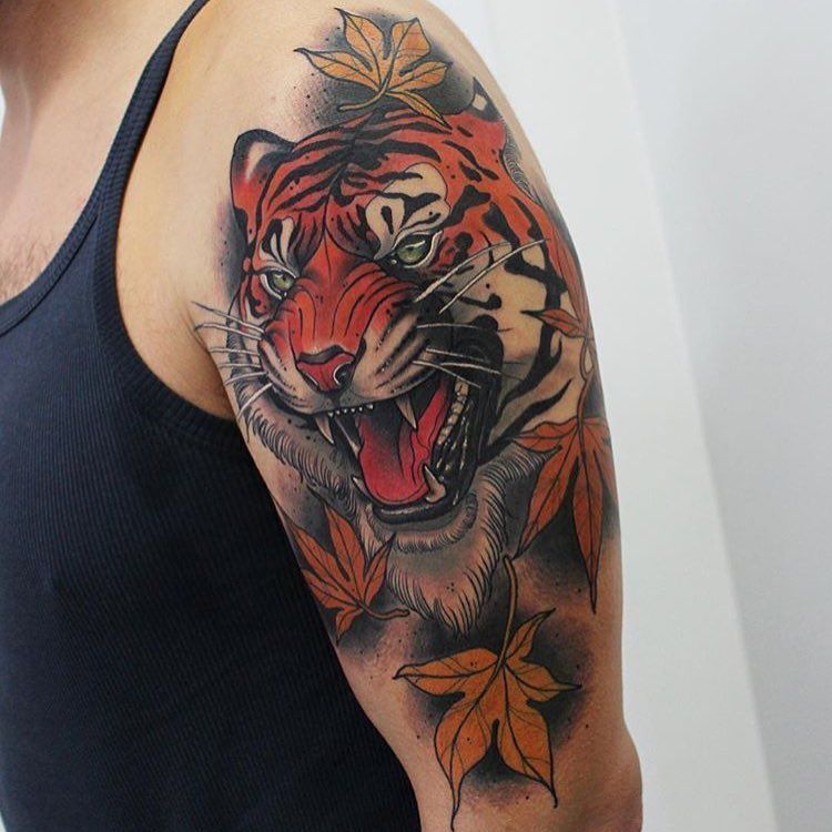 2 762 Likes 8 Comments Neo Traditional Europe Neotraditionaleurope On Instagram Great Work By Lucas Tiger Tattoo Design Tiger Tattoo Tattoos For Guys