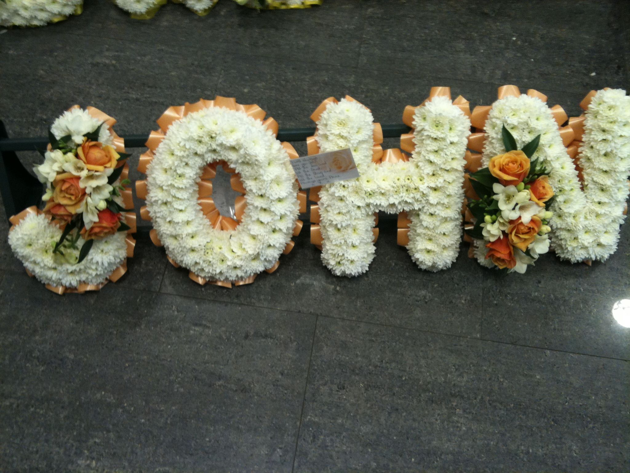 Based Name Funeral Tribute By The Flower Boutique Personalised