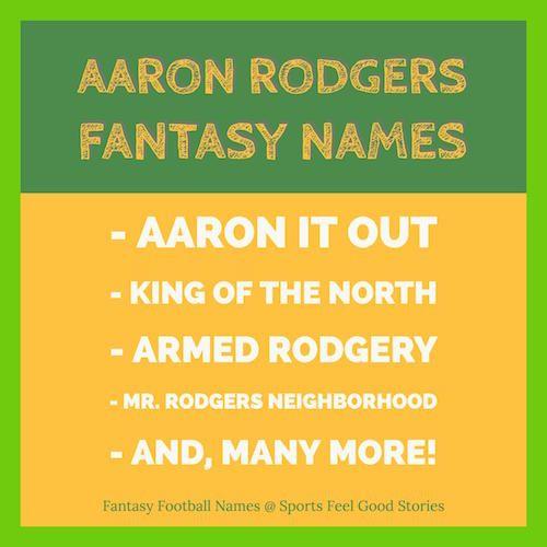 Aaron Rodgers Fantasy Football Team Names Sports Feel Good Stories Football Team Names Fantasy Team Names Fantasy Football Names