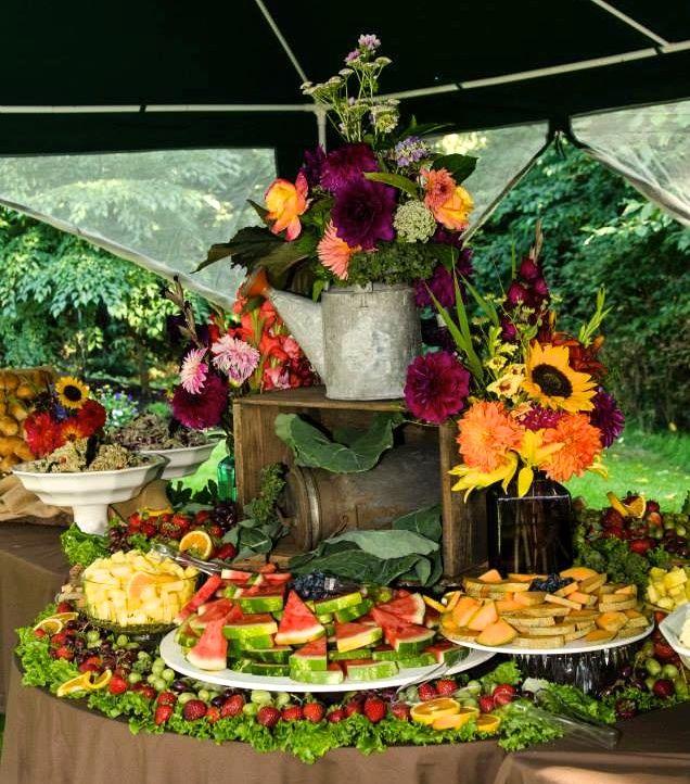 Wedding Reception Food Trays: Country Wedding Fruit Table Display