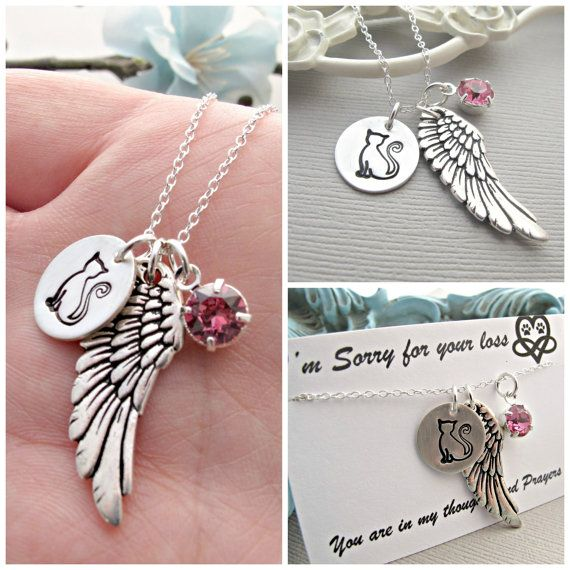 Cat Remembrance Necklace Pet Loss Necklace Cat by vonmeyerjewelry, $36.00