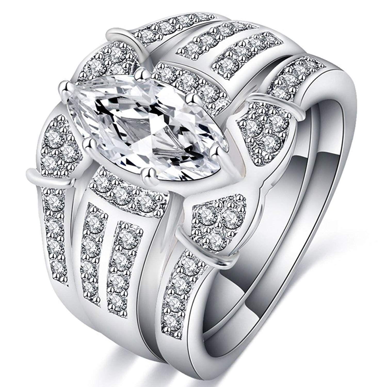 Fendina Womens Luxurious 3 In 1 Eternity Love Promise Wedding