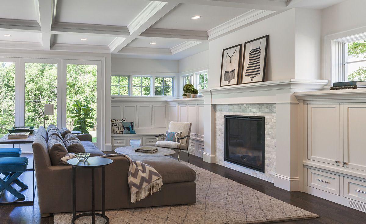 Minnesota Custom Home Builder Portfolio Kenwood Cottage Craftsman Living Rooms Living Room Built Ins Home