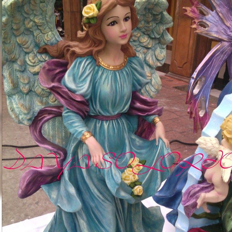 Angel de alabastro pintado a mano combinacion d - Angelitos de yeso ...