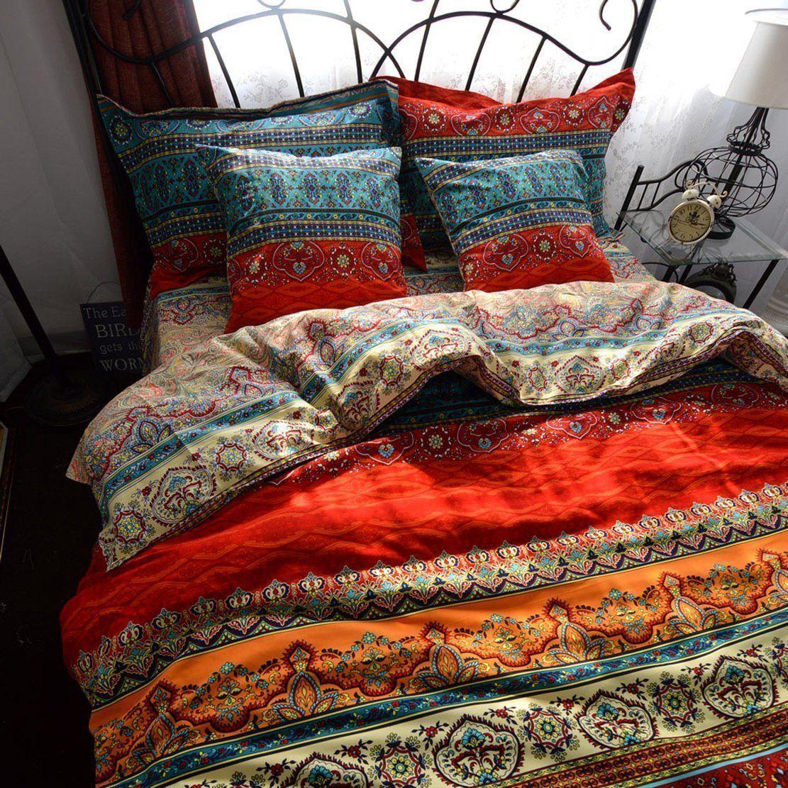 Auvoau Boho Style Duvet Cover Set, Colorful