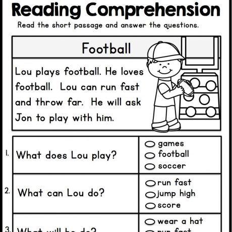 free printable reading comprehension worksheets for kindergarten ...