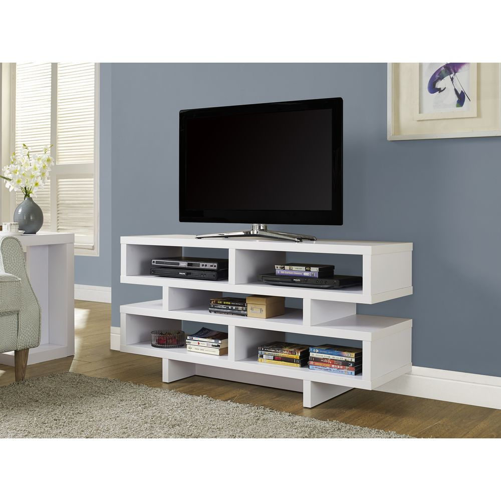 48 inch White Hollow core TV Console 48 inch White