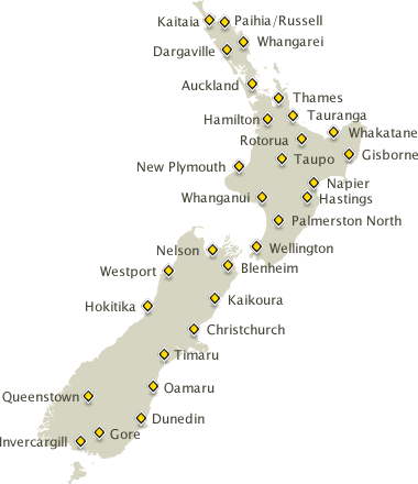 Hamilton Map New Zealand.Driving Times And Distances Map Of New Zealand Aa Tourism Www