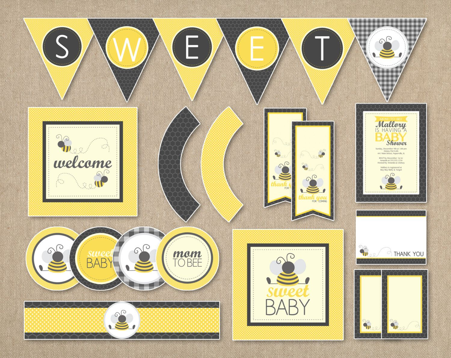 Bumble Bee Baby Shower Party Package Printable Diy By