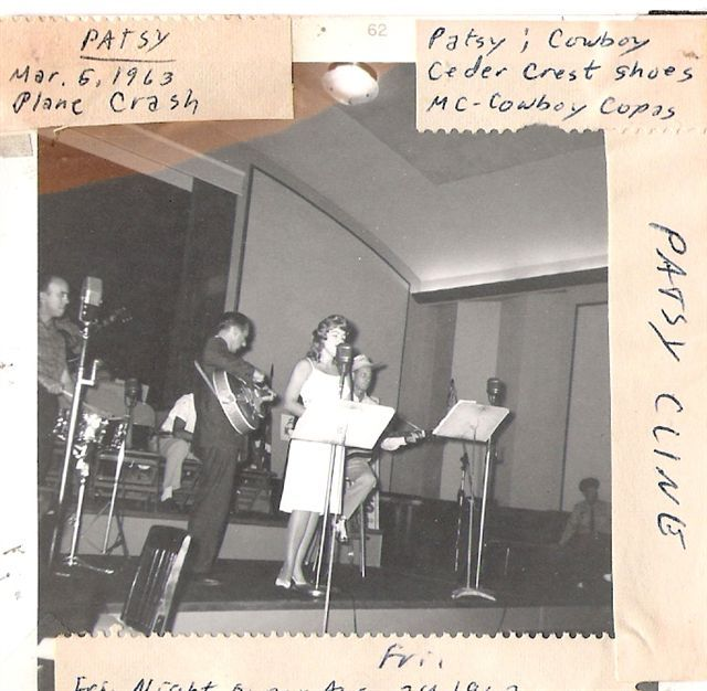 VERY RARE candid of Patsy in a blonde wig, performing, with Cowboy Copas to her left, and Randy Hughes to her right.
