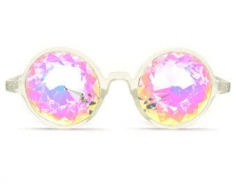 GloFX Clear Kaleidoscope Glasses- Rainbow Lenses Unique Translucent Frame Multi-Faceted Glass Crystal Microfiber Cleaning Case Light Show