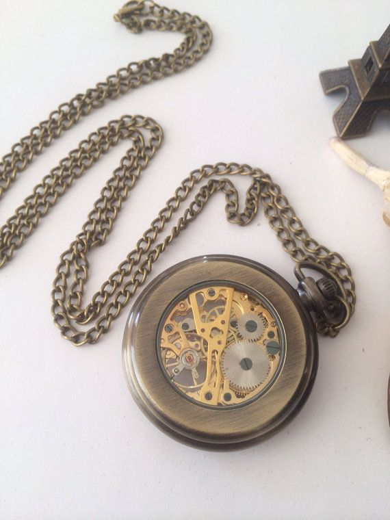 Mechanical Pocket Watch double sides watch face by Victorianstudio, $39.98