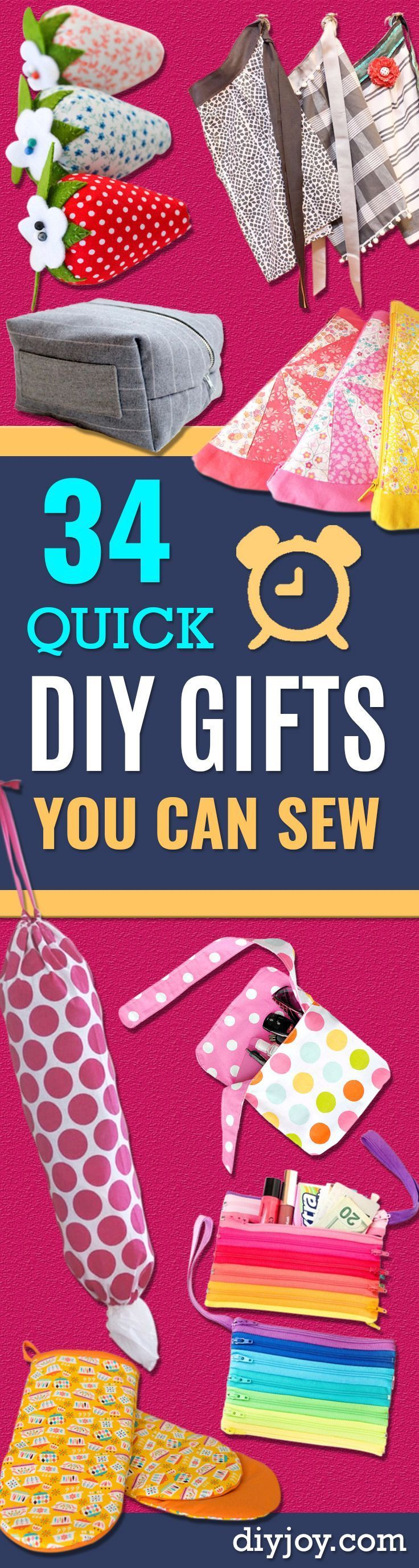 34 Quick DIY Gifts To Sew For Friends and Family | Sewing ...