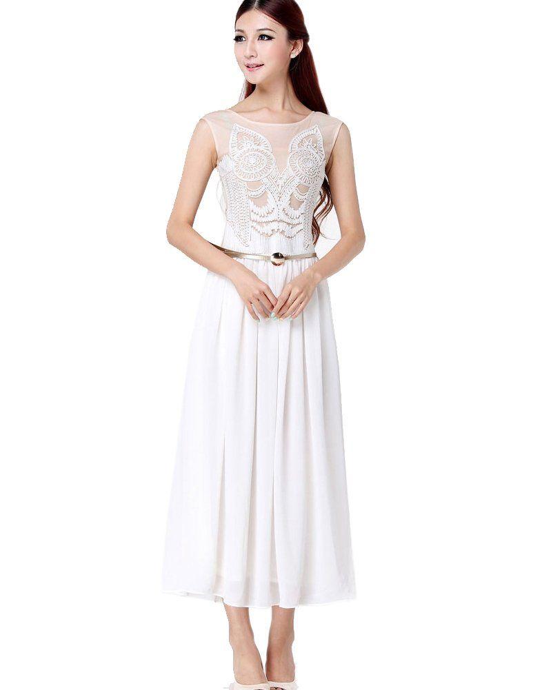 7b63df2b49 Donner Women s Vintage White Long Chiffon Maxi Dress with Handmade  Embroidery (Medium) Amazon Beauty
