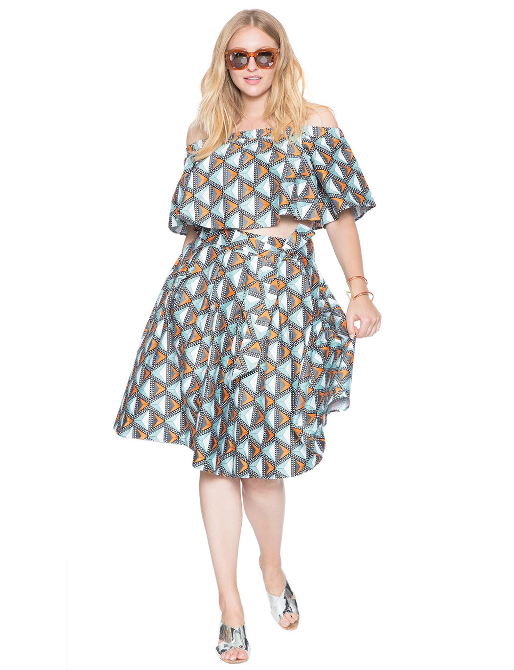 Studio Printed Off The Shoulder Top Womens Plus Size Tops