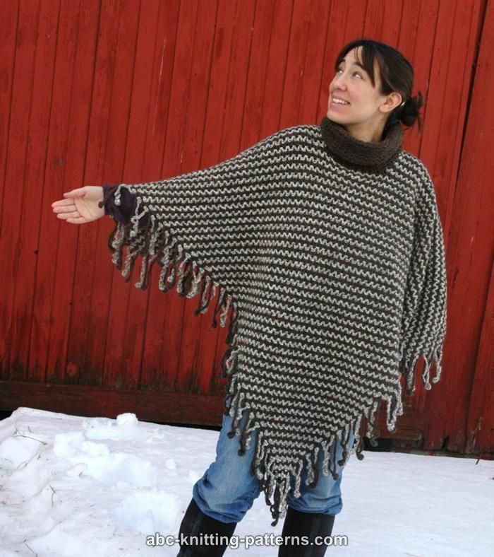 ABC Knitting Patterns - Two-Color Poncho with Crochet Fringe
