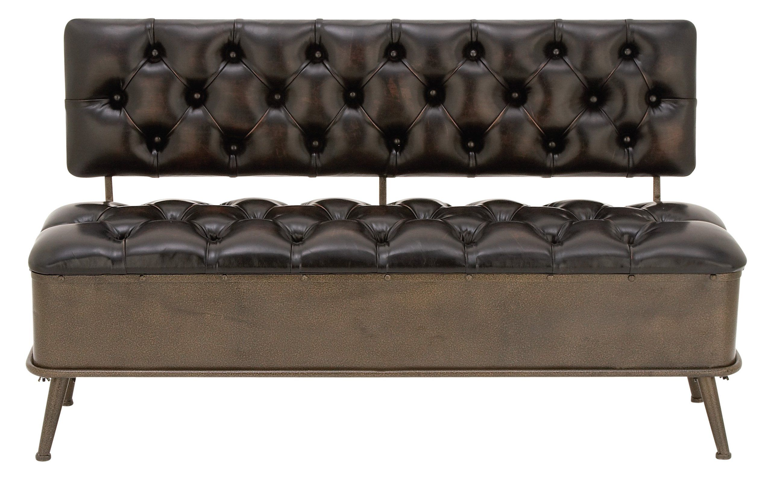 DecMode Metal and Tufted Leather Storage Bench with Back