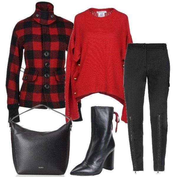 A Da Con Rosso Quadri Corto Outfit Maglione Composto Cappotto IU5awHx