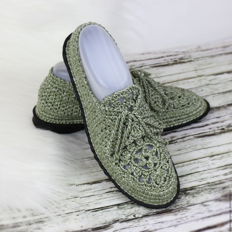 Купить Мокасины вязаные Green Silver - мокасины женские, мокасины вязаные, вязаная обувь