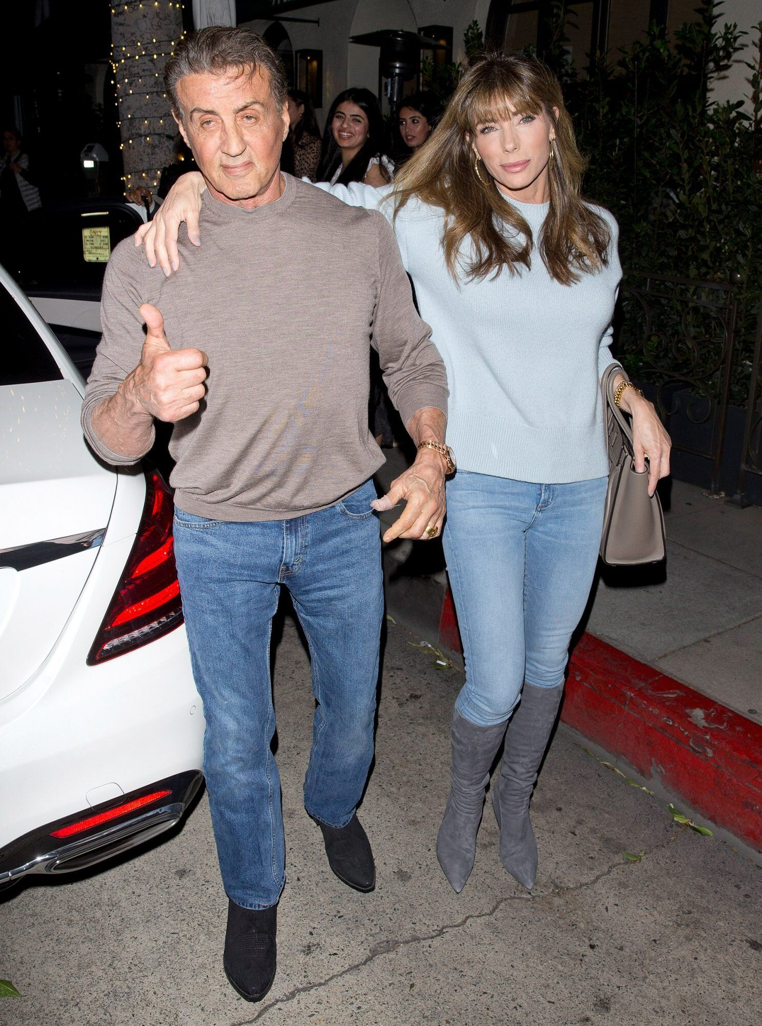 Stallone Family Outing Sylvester And Wife Jennifer Flavin Have Dinner With Daughters In 2020 Jennifer Flavin Sylvester Stallone Sylvester