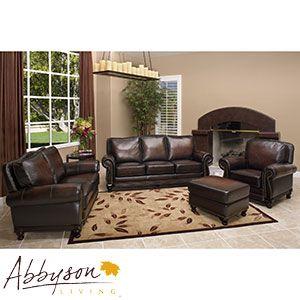 Venezia 4 piece top grain leather set costco - Costco leather living room furniture ...