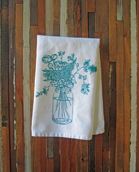 Cloth Napkins - Eco Friendly Dinner Napkins - Screen Printed Cotton Cloth Napkins - Wildflowers - Ha #clothnapkins