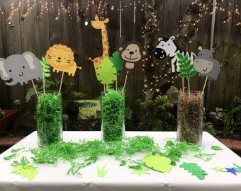 Zoo Jungle Safari Centerpiece Safari Baby Shower Decorations Jungle Baby Shower Theme Boy Baby Shower Centerpieces
