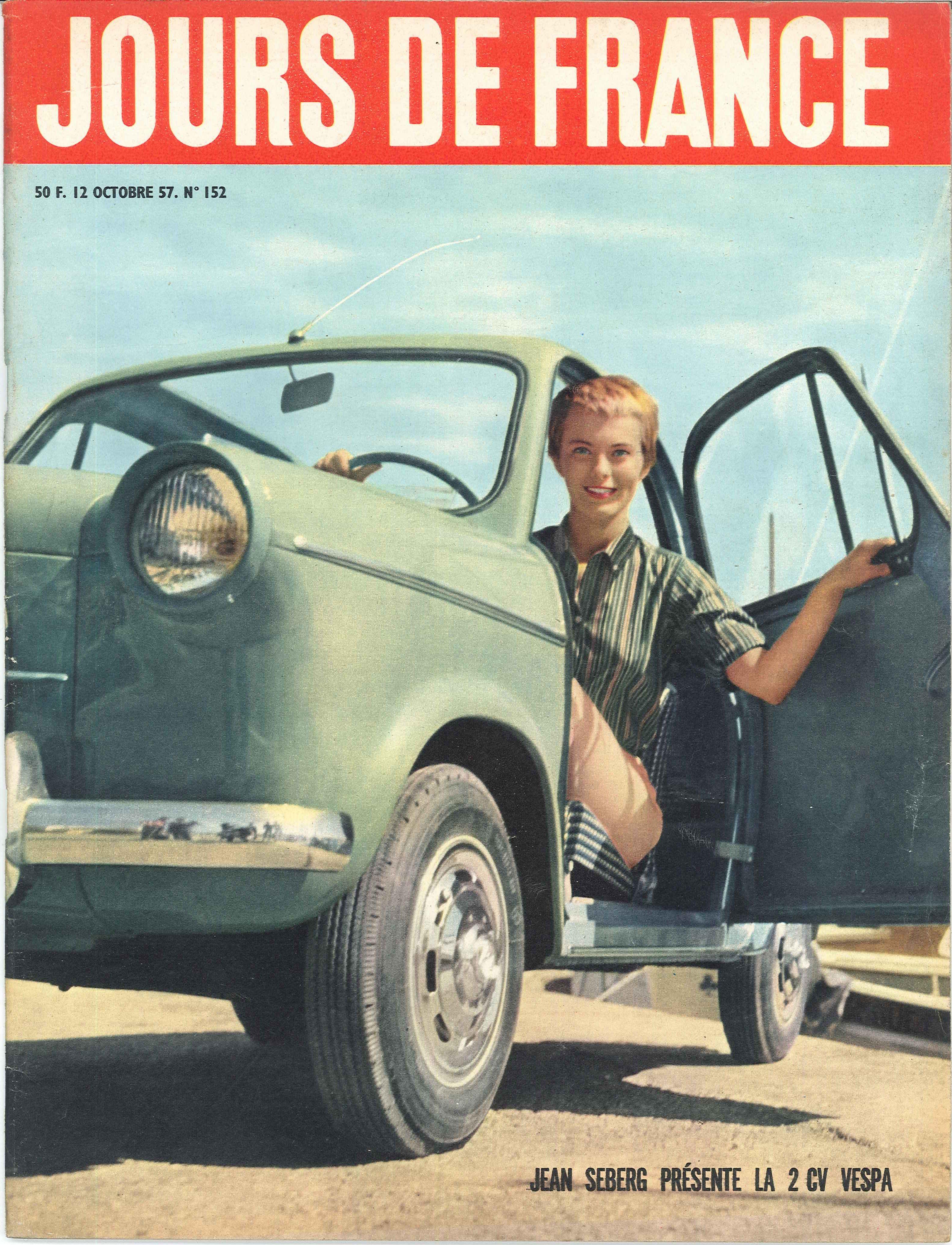 jean seberg pr sente la 2cv vespa jours de france n 152 12 octobre 1957 automobiles pinterest. Black Bedroom Furniture Sets. Home Design Ideas