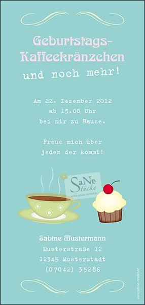 Einladungskarte Geburtstag Kaffee und Kuchen Ideen