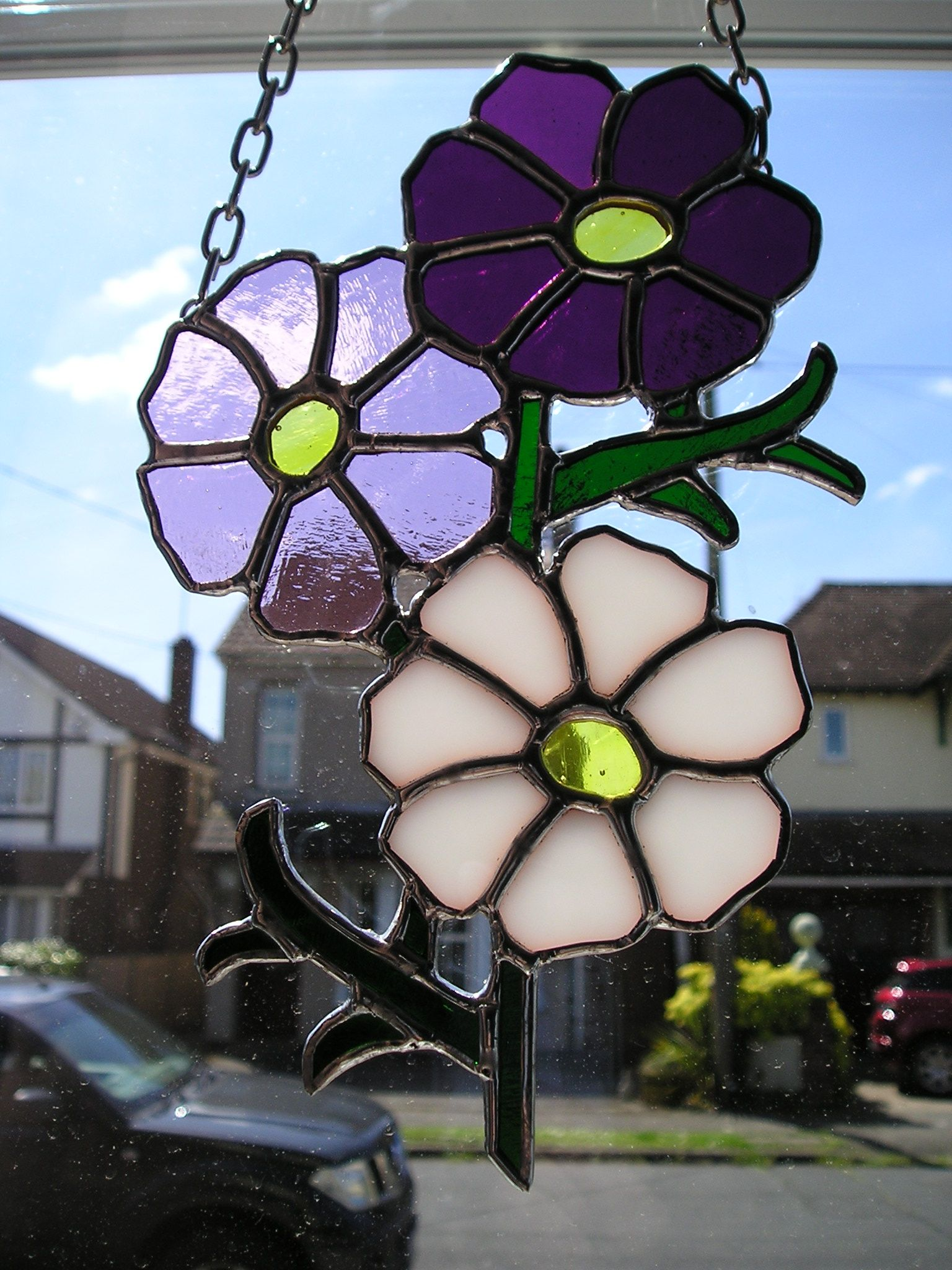 Stained Glass Cosmos Flower Trio Birthday Flower For The Month Of