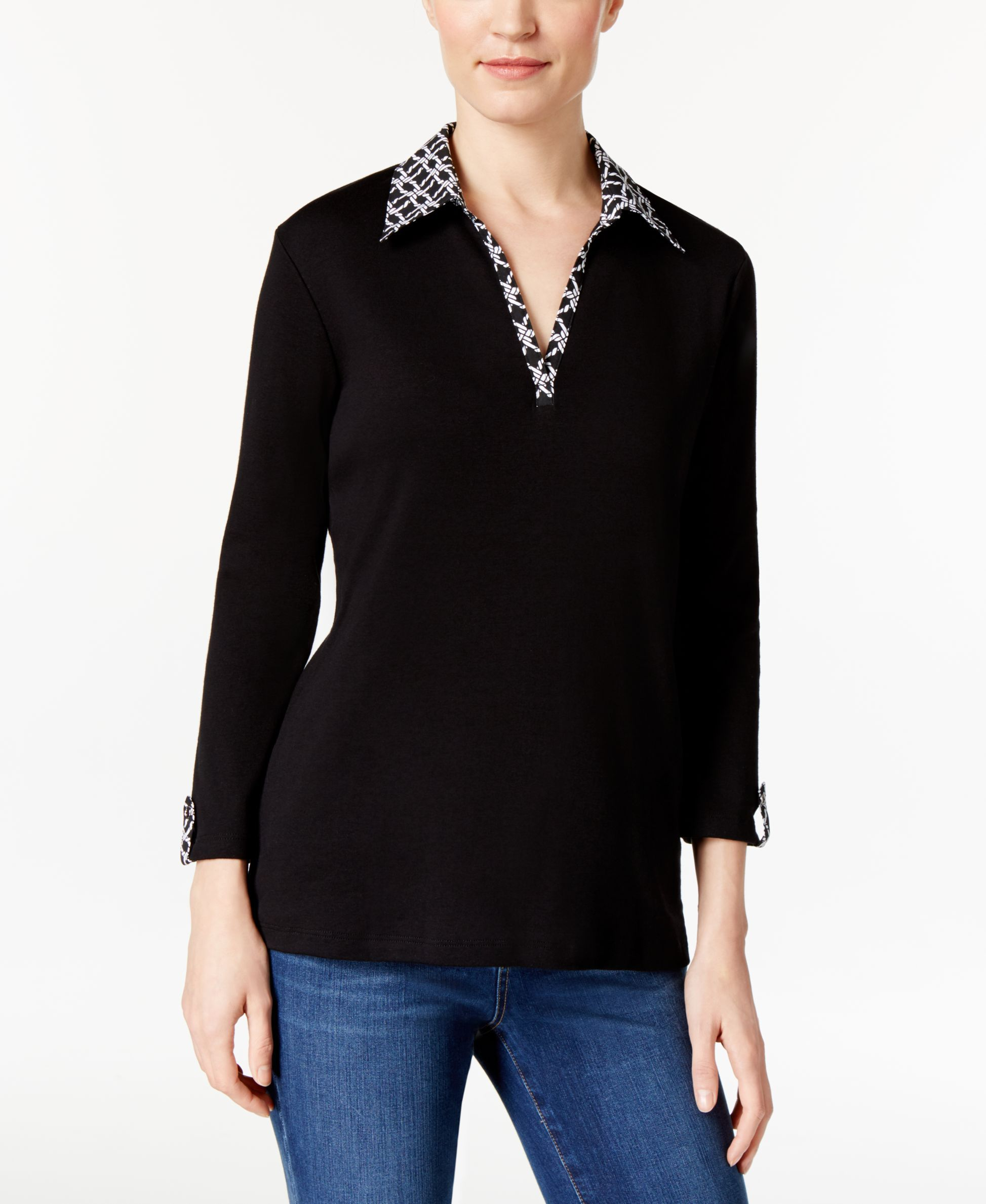 Karen Scott Contrast-Trim Top, Only at Macy's