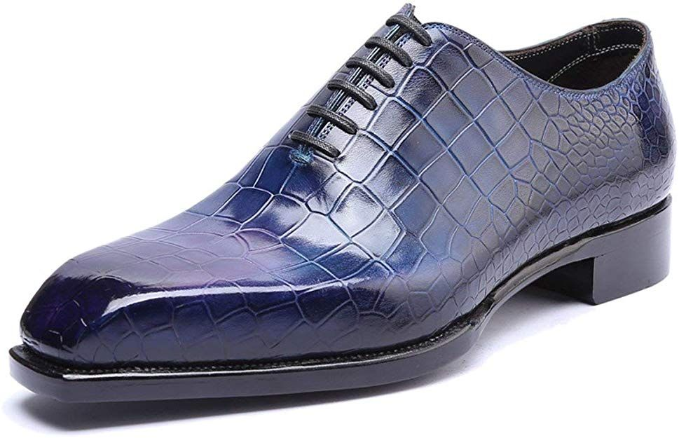 New Handmade Men's Snake Skin Texture Blue Office Fashion