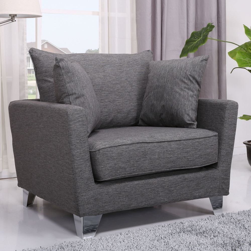 Wooden armchair with cushion - Grey Wooden Armchair Chair Seat Furniture Silver Cushion Wood Living Room Large