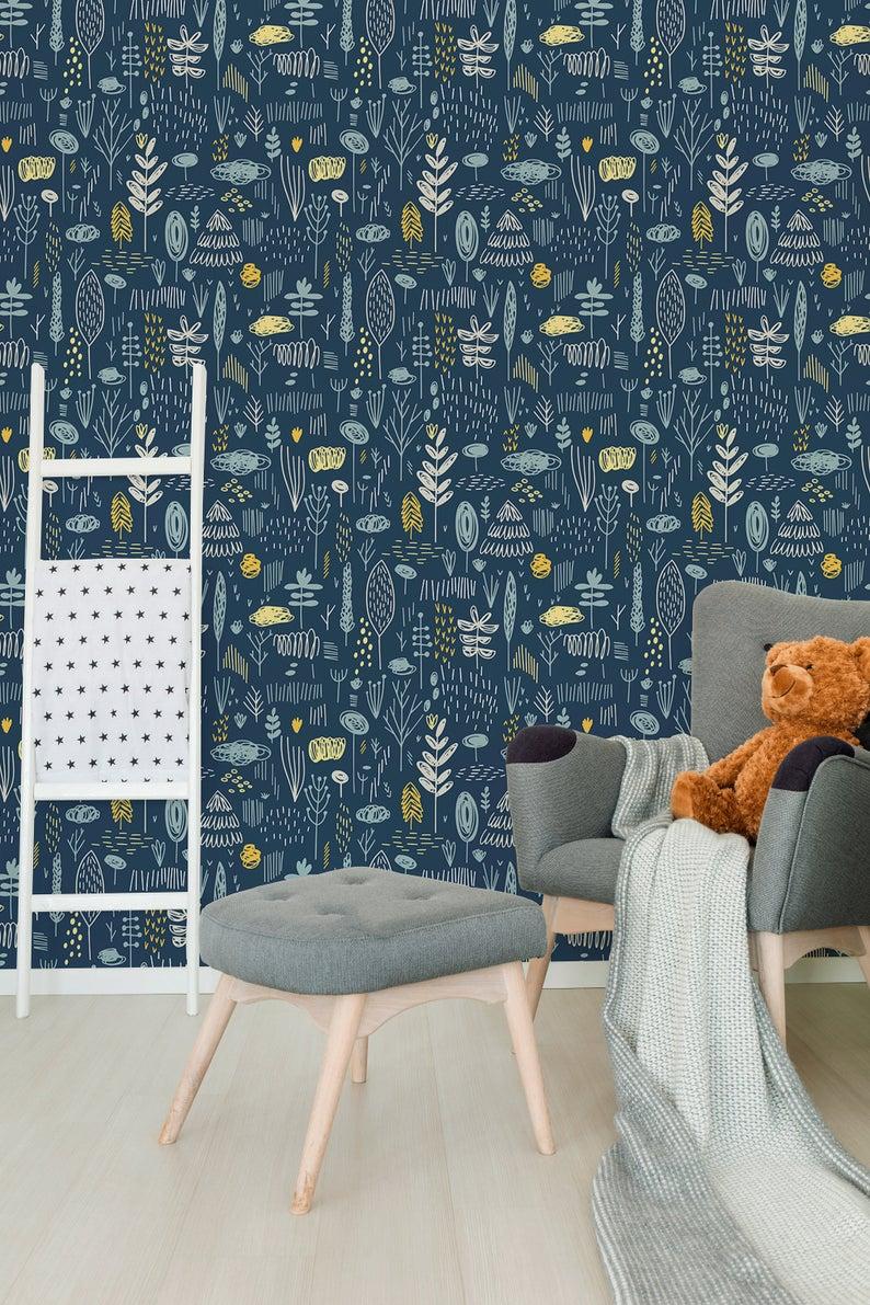 Removable Wallpaper Scandinavian Wallpaper Plants Wallpaper Etsy In 2021 Scandinavian Wallpaper Removable Wallpaper Plant Wallpaper