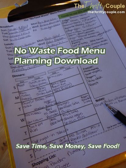 Free Weekly Menu Planner Download  No Food Waste Menu Planner
