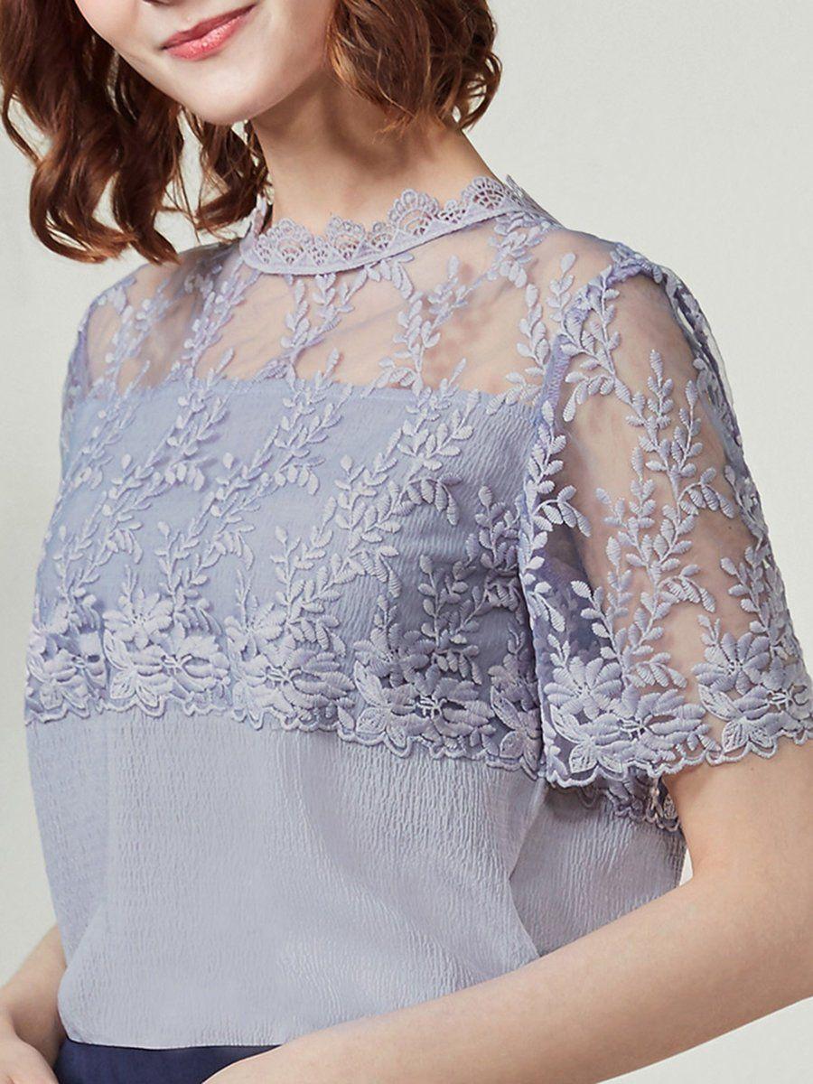 129bb8d60ac09d #AdoreWe #StyleWe Blouses❤️Designer I BELIEVE YOU Cotton-blend Short Sleeve  See-through Look Elegant H-line Blouse - AdoreWe.com