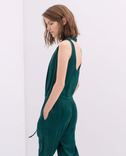 4432afaba4e ZARA-EMERALD-GREEN-SATIN-DRAPED-FRONT-JUMPSUIT-SIZE-S-SMALL-8130-893-RRP-60