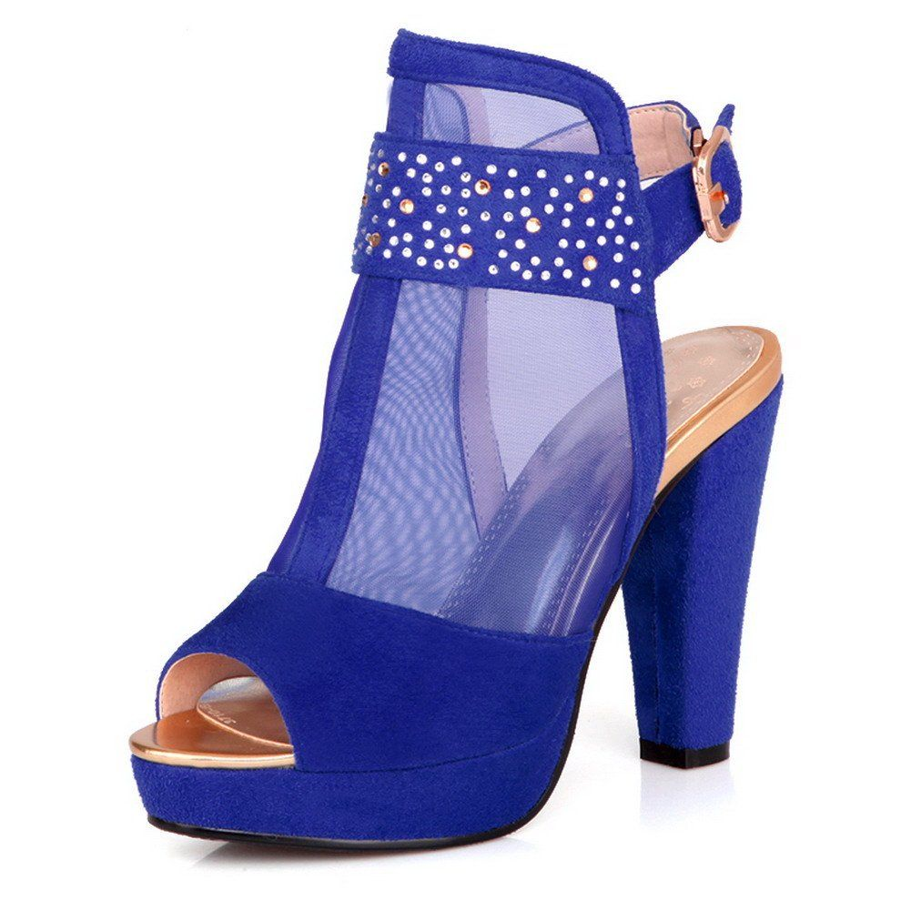 VogueZone009 Womens Open Peep Toe High Heel Chunky Heels PU Frosted Solid Sandals with Glass Diamond, Blue, 7 B(M) US
