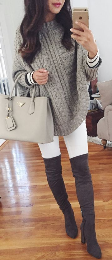 c79af9262bbef Grey Chunky Knit Cape Sweater Fall Street Style Inspo women fashion outfit  clothing stylish apparel @roressclothes closet ideas