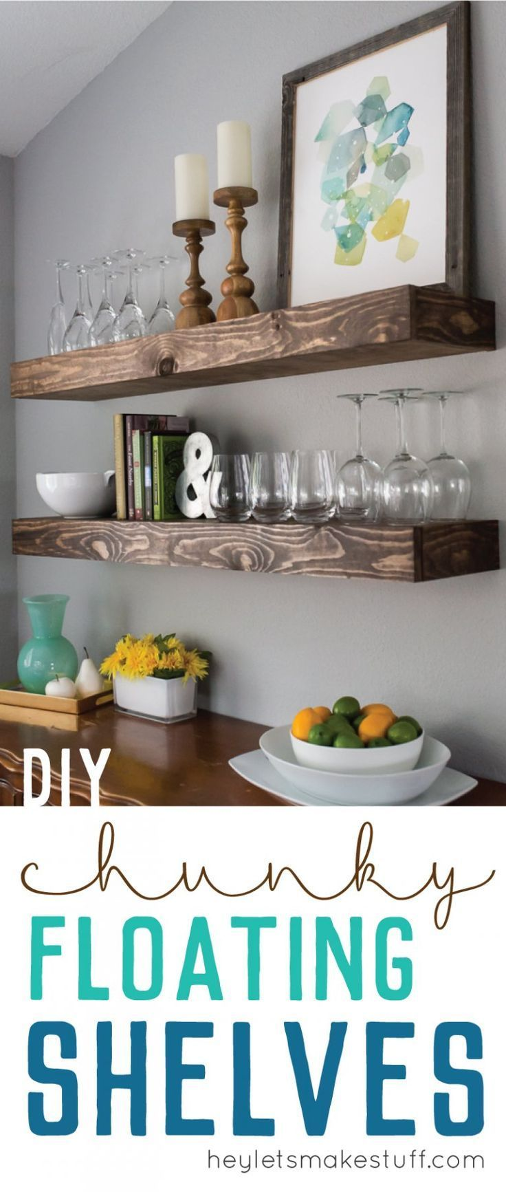 Chunky floating shelves are a great way