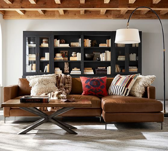 Jake Leather Sofa With Chaise Sectional Home Living Room Rustic