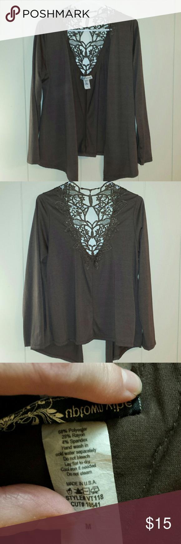 Lightweight brown lace back open cardigan | Medium long, Open ...