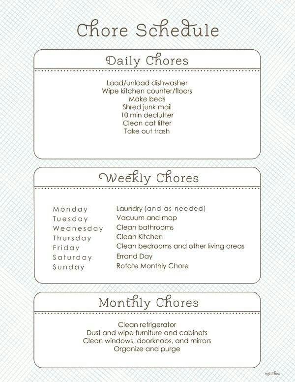Chore list House organization Pinterest Chore list